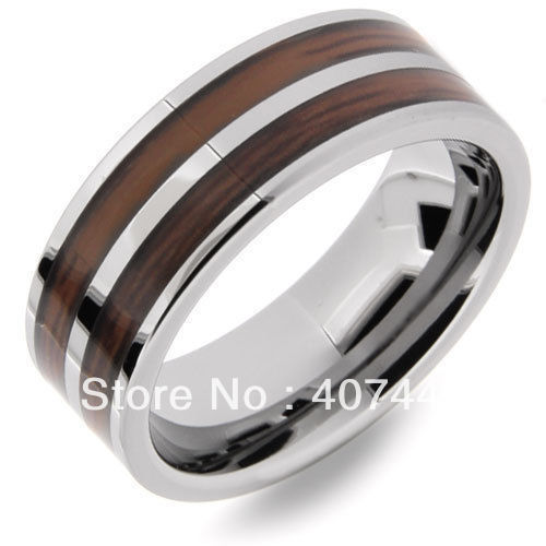 USA Canada Russia Brazil Hot Sales 8MM Double Wood Striped Tungsten Carbide Wedding Ring US size 6-13  -  E&C Super Fashion Jewelry Store (-ratail Store store)