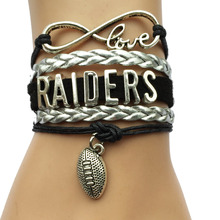 Infinity Love Oakland Raiders Team Bracelet- NFL Football College Leather Braid Sports Gift
