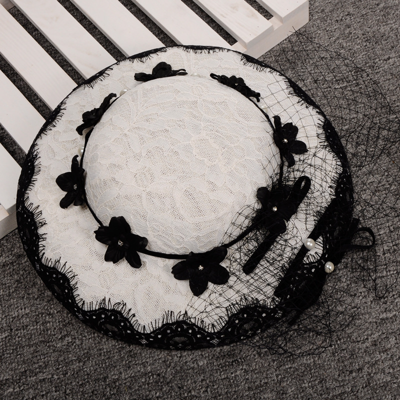 New Classic White Black Lace Linen Wedding Fascinator And Hat For Girl Women Ladies England Horse Race Party Pearl Veil Headwear<br><br>Aliexpress