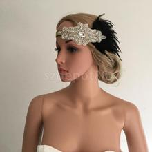 Vintage Woman Flapper Feather Headband 1920s Great Gatsby Fascinator Church Ascot Race Crystal Hair Accessory