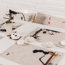 Chinese style Retro Ink Simple elegant Pattern Table decor Upscale Tea mats Western Placemat Double layer Thick Linen Tablecloth