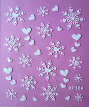 1 sheets Fashion 3D White Snowflake Nail Art Water Transfer Stickers Manicure Decal Wrap DIY Nail Art Decoration SAXF184