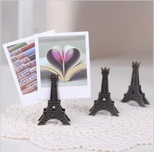 1 PCS Korea Stationery Vintage Paris Eiffel Tower Metal Gift Clip Business Card Stand Photo Card Holder Memo Paper Message Clip(China)