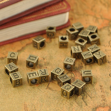 Retro diy accessories material accessories Handmade beaded large mail eye loose bead English letters A-Z square 7mm beads(China)