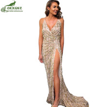 Buy Women dress evening party club elegant dress vestidos de festa womens sexy dresses goldsequined Long evening maxi Dress OKXGNZ for $24.80 in AliExpress store