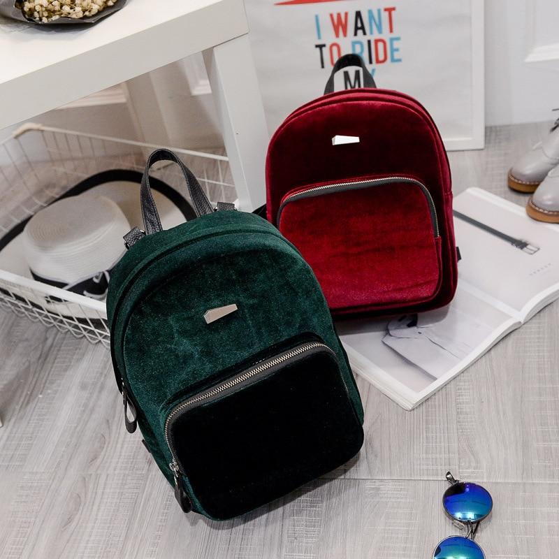 velvet women bag female backpack for teenager girl school shoulder bag mochilas femininas mini backpack vintage 2017 new fashion<br><br>Aliexpress