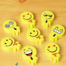 2pcs/lot small mini cartoon cute Smiley Face eraser kawaii promotion gift for kids student school supplies stationery wholesale(China)