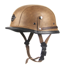 New Retro Vintage Motorcycle Helmet Scooter Cruiser Touring Chopper Half Helmet German Style Synthetic Leather Moto Helmet DOT