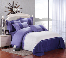 purple and white Luxury embroidery 4pcs bedding sets 100% cotton king queen/ five stars hotel duvet cover flat sheet set(China)