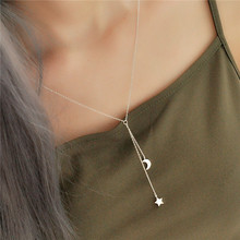 925 Sterling Silver Star Moon Tassel Necklaces & Pendants For Women Fashion Lady Cubic Zirconia Diamonds Sterling-silver-jewelry(China)
