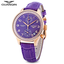 GUANQIN Women Quartz Watch Date Chronograph Display Sapphire Mirror Wristwatch(China)