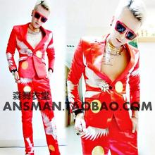 New Male singer DJ Nightclubs guests right Zhilong Show the same style the red crane Men Blazers suits, costumes stage S-5XL