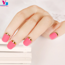 New Lady nails Rose Red Matte Fake Nails Metallic Gold French False Nail TipsShort Design Full Cover Cute Artificial Faux Olges