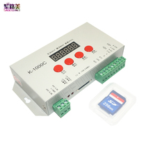 Free shipping DC5V-24V K-1000C controller (T-1000S Updated)WS2812B,WS2811,APA102,SK6812,2801 LED 2048 Pixels Program Controller(China)