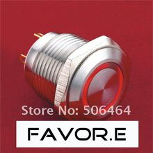 16mm Stainless steel IP65 ring illuminated Pushbutton Switch with LED lamp PIN terminal(China)
