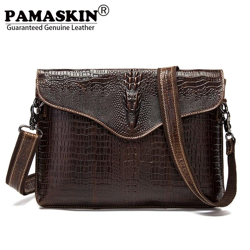 PAMASKIN Vintage Alligator Head Men Messenger Bags 100% Genuine Leather Retro Male Cross-body Bag with Hand Rope Businessmen Bag<br>