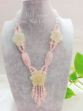 Lii Ji Natural Rose Quartz New Jade Flowers with Jade Toggle Clasp Necklace(China)