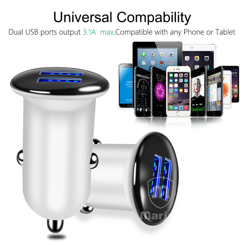 Marjay Mini Dual USB Car Charger Adapter 3.1A Car-Charger Mobile Phone Car USB Charger Auto Charge 2 Port for Samsung iPhone X (3)