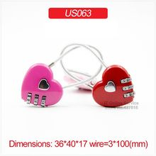 1PCS Heart Padlock 3 Digit Combination Password Luggage School Bag Zipper Bag Trolley Case Padlock with Steel Wire Rope US063(China)