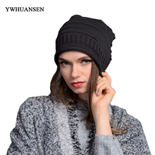 YWHUANSEN Hot-sale Drape Winter Women Knitting Beanies Acrylic Female Causal Hats Solid Skiing Casquette Crochet Cap on the Girl(China)