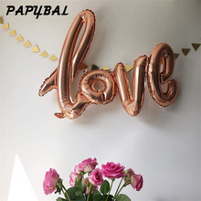 Large Size 108x65cm Giant Linking Champagne Red LOVE Foil Balloon Romantic Wedding Valentine's Day Party Supplies Helium Globos(China)