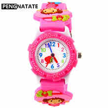 PENGNATATE Kids Watches for Girls Cute Gift Fashion Pink Strap Children 3D Cartoon Silicone Watch Bracelet Students Wristwatches(China)
