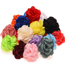 10PCS Burning Flowers Satin Roll Flower Artificial Rose Flower for Hair Accessories s Rosette flower for Hair bows(China)