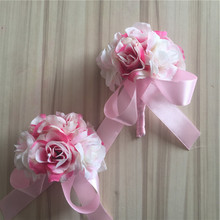 1set New Bride Groom Boutonniere Artificial Rose Corsage Wrist Flower Wedding Church Decor Pink BW007