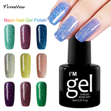 Verntion Neon Nail Gel Polish Soak Off UV LED Lucky Colorful Gel Colors Long-lasting Gel Nail Art Varnish Manicure Lacquer