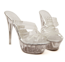 Shoes Woman Platform Sandals Summer Transparent Glass Slides Waterproof 14cm Nightclub Sexy High-heeled Shoes Plus-size 35-43