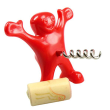 2pcs/lot Red Fun Happy Man Wine Opener And Stopper Beer Opener Soda Bottle Novelty Bar Tools Wine Cork Plug Perky Creative Gifts