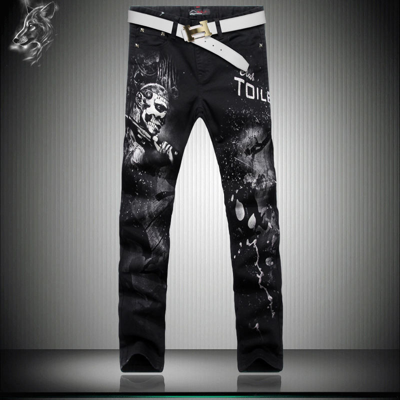 Personalized painted skull printing fashion trend classic jeans American style nightclub street straight slim quality jeans menОдежда и ак�е��уары<br><br><br>Aliexpress