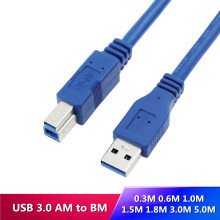 USB 3.0 A Male AM to USB 3.0 B Type Male BM USB3.0 Cable For printer scanner HDD 0.3M 0.6M 1M 1.5M 1.8M 3M 5M free shipping