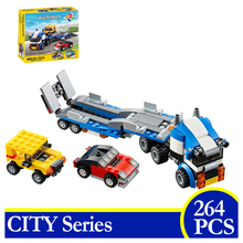 3114 264pcs City Series Vehicle Transport Race Truck 3 In 1 Car Building Blocks Bricks Children Gift Compatible With LEPIN 31033