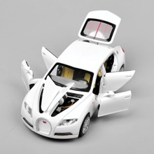 1/32 Bugatti Veyron 16C Galibier Electronic light sound Pull Back Collectible Alloy Diecast Cars Model Kids Toys for Boys