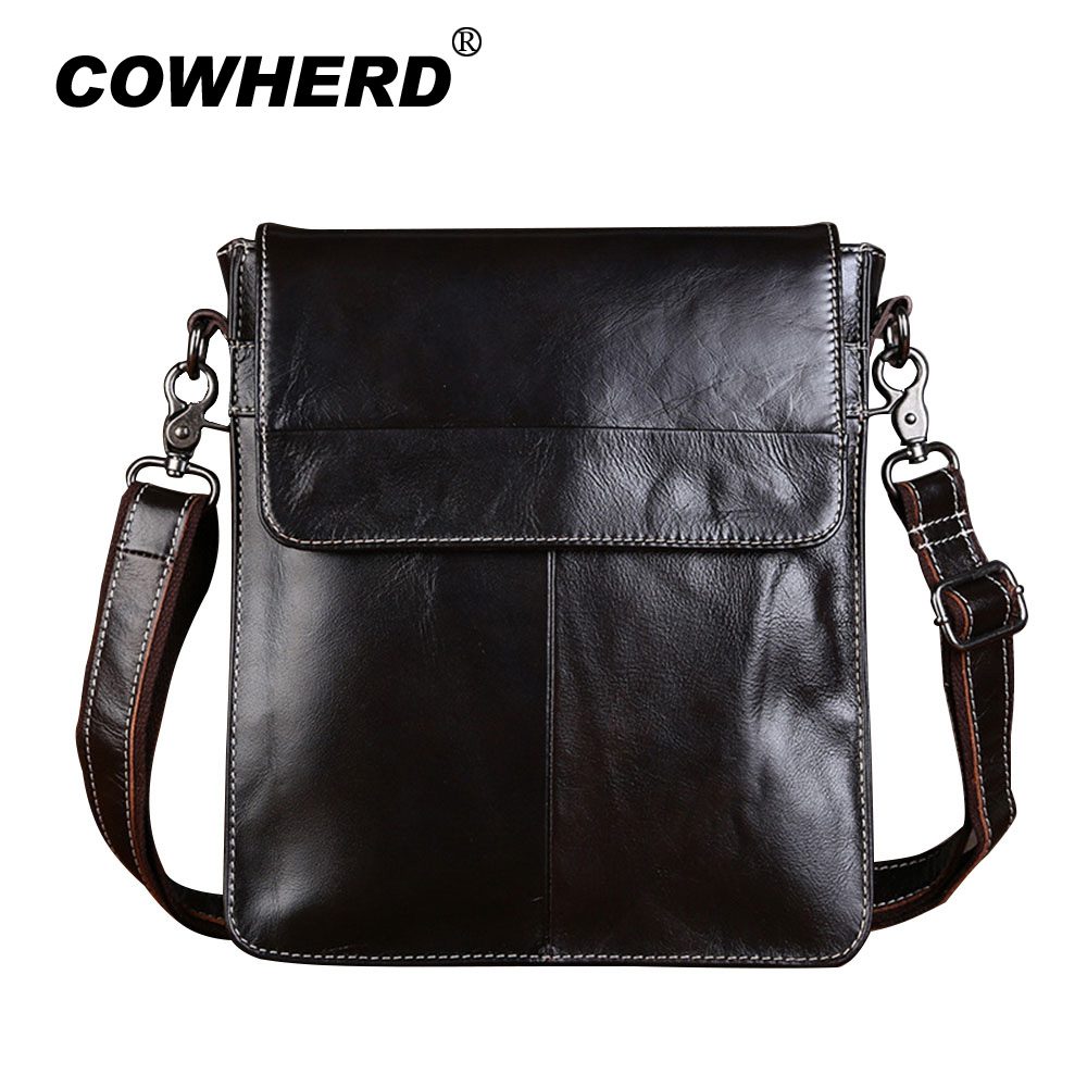 COWHERD Brand 100% Genuine Leather Men Messenger Bag Casual Shoulder Crossbody Bag Business Mens Handbag Flap Pocket<br>