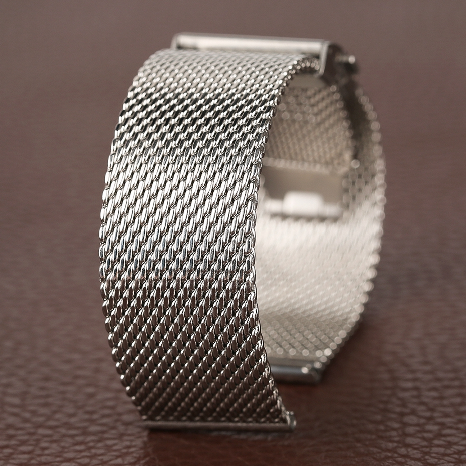 Mesh Milanese Bracelet Clasp Watchbands High Quality 18mm 20mm 22mm Silver Black Wrist Watch Band Strap for Clock Replacement 2018 (34)