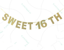 Glitter Gold Sweet 16th Birthday Party Garland Bunting Banner Hanging Decoration