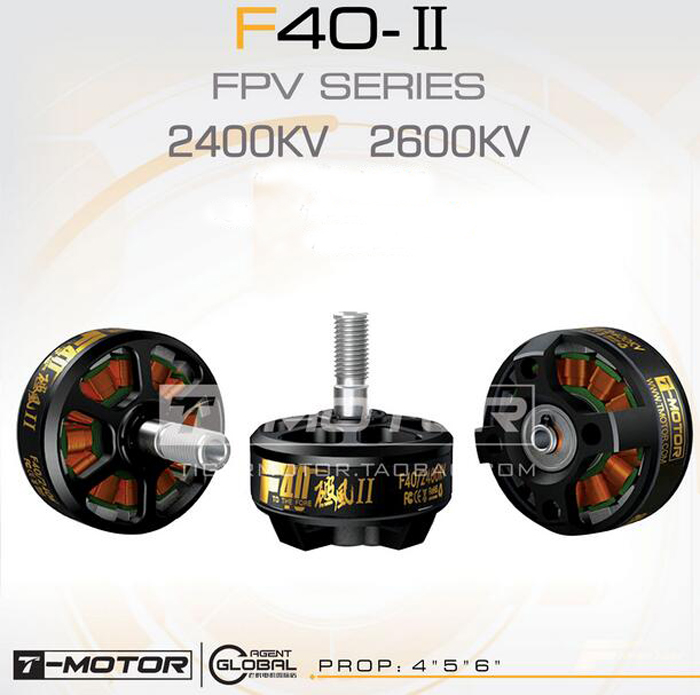 T-motor F40 II FPV racing drone motor 2400KV 2600KV 12N14P 3-4S multi-rotor motor for quadcopter multicopter accessories<br>