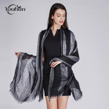 YOUHAN 2017 Women Scarf Luxury Brand Black Silver Viscose Blanket Shawl Scraf Long Scarf Wraps Bandana Echarpe Foulard Pashmina(China)