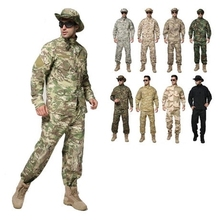 Outdoor men's Military Woodland Camouflage sets Army desert camo Multicam uniform combat Airsoft clothes Coat+Pants(China)