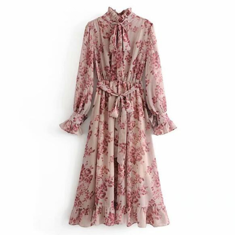 2019 Pink Flower print Long Sleeve Dress With Sashes Women Vintage Tide Bow Collar Ruffles Hem Dresses