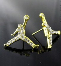 (No minimum )!HOT!!  Fashion Hip Hop Basketball Air Michael  Crystal Jordan Slam Dunk  Earrings  .Factory Wholesale