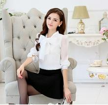 2016 Autumn Business office Ladies Big Bow Blouse Chiffon Full Sleeve Stand Collar White Shirts Female Clothes Tops