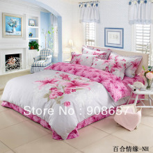 pink lily flower pattern cheaper girls duvet quilt covers Queen/full bed in a bag set 4pc with bed sheets cotton home textile