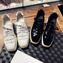Black White Platform Sneakers Women Square Toe Genuine Leather Lace-Up Fringe All Match Fashion 2017 Spring Shoes Woman Casual