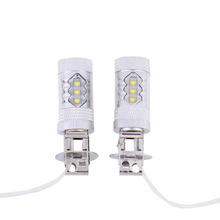 2PCS H3 80W 6000K Super Bright LED Light Fog Tail Turn DRL Headlights Car Light Lamp Bulb White Colour
