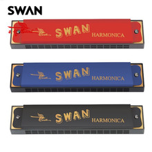 Swan SW16-2 C Key 16 Holes Harmonica Copper Board Diatonic Harp In Paper Box Woodwind Instruments Musical Instrument For Student(China)