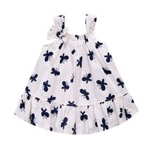 0-12M Small Ladies Princess Wind Butterfly Printed Woven Dress Summer Newborn Baby Girl's Sleeveless Sling Mini Dress