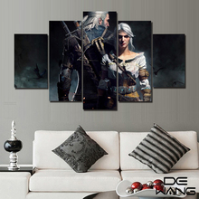 5 Piece Canvas Art Hd Printed Witcher Game Poster Oil Painting Canvas Print Framed Print Picture Wall Art Home Decorative